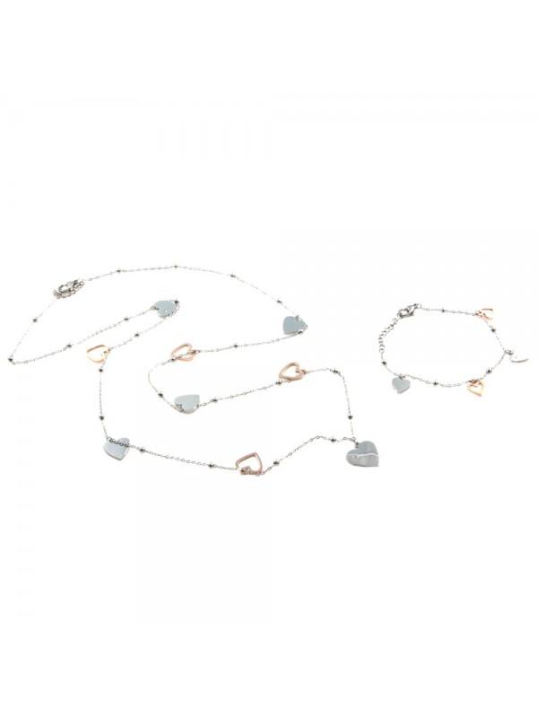 Parure donna collana e bracciale con cuori in acciaio bicolore ramato par0020