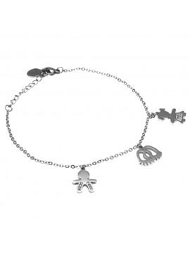 bracciale con bebe maschietto femminuccia e piedini in acciaio - bcc1569