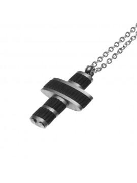 collana uomo croce in acciaio nera - cll1823