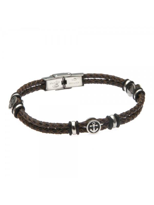 bracciale uomo con ancora in acciaio e pelle marrone simboli marinari - bcc2481