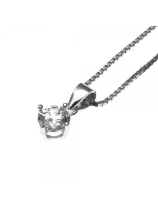 collana con ciondolo pendente punto luce in argento a grif