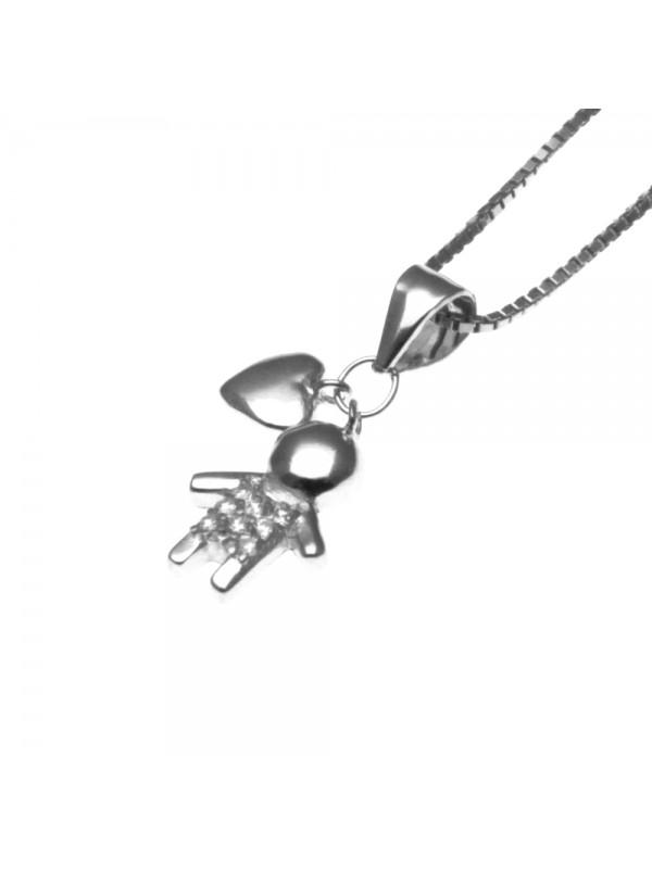 collana bebe bambino maschietto ciondolo in argento 925 e zirconi - cll1133