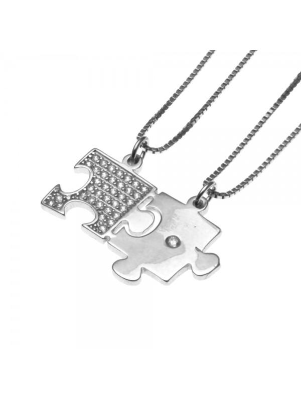 collana a puzzle per coppie e fidanzati in argento 925 cll1209