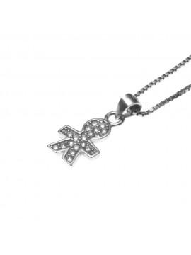 collana con bebe bambino maschietto ciondolo in argento 925 e zirconi - cll1566