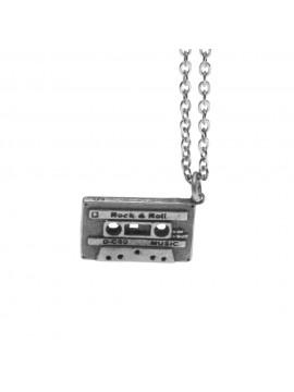 Collana con musicassetta ciondolo in argento invecchiato cln0018