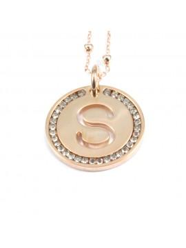 collana con lettera s iniziale ciondolo pendente in bronzo ramato