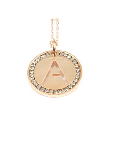 collana con lettera a iniziale ciondolo pendente in bronzo ramato