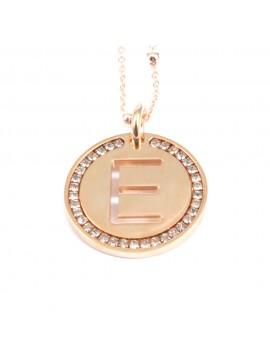collana con lettera e iniziale ciondolo pendente in bronzo ramato