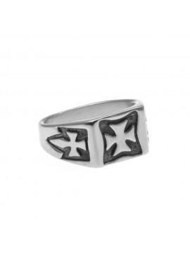 anello uomo con croce di malta in acciaio misura 28