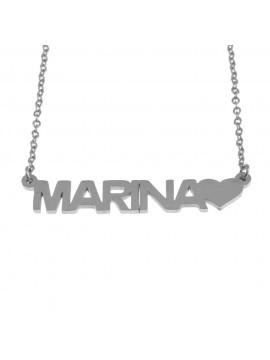 collana con nome marina in acciaio cll1333