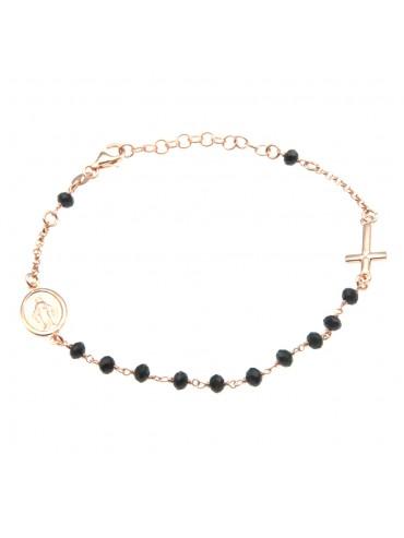bracciale rosario argento ramato postine nere bcc1670