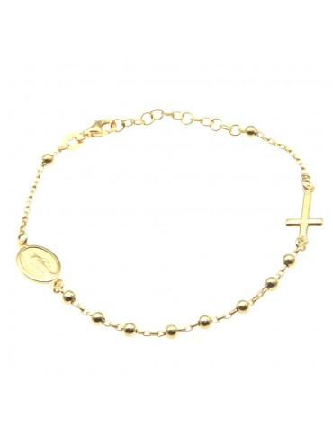 bracciale rosario argento dorato bcc1673