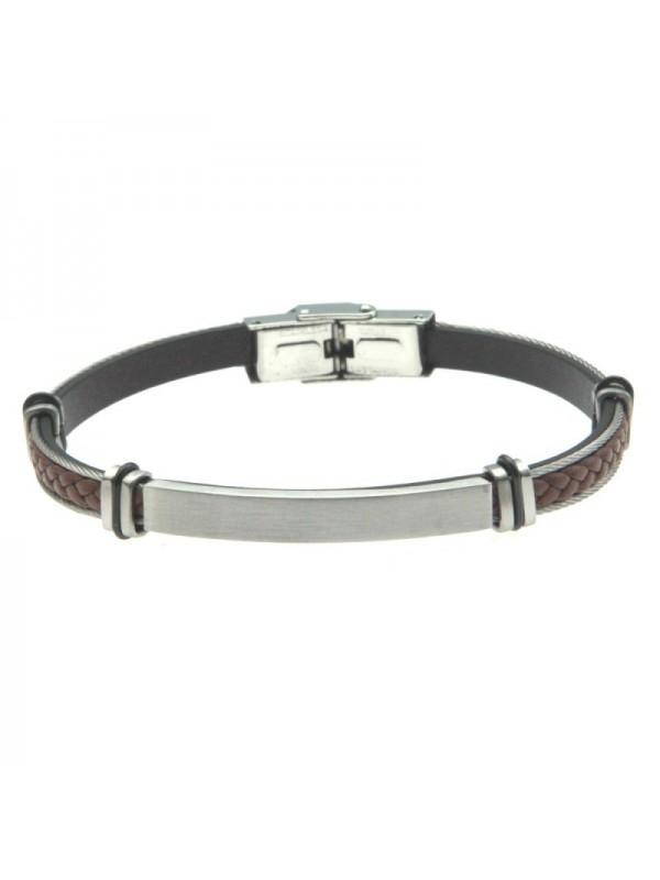 bracciale uomo rigido pelle acciaio personalizzale - bcc2474
