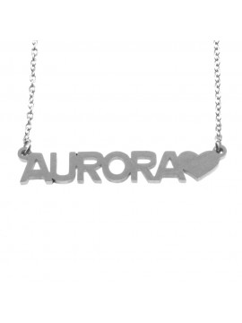 collana con nome Aurora in acciaio cll1772