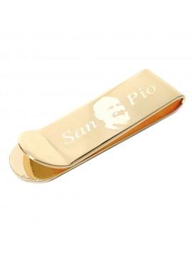 Fermasoldi san padre pio in acciaio dorato mm 55 mm 16 fsl002