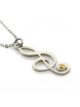 Collana con chiave di sol o violino in acciaio