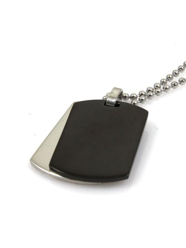 Collana con doppia piastra in acciaio per incisioni