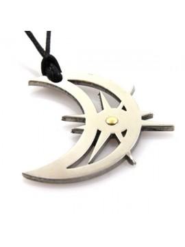 Collana con luna e sole in acciaio