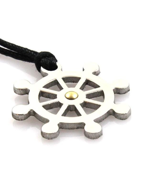 Collana con timone in acciaio