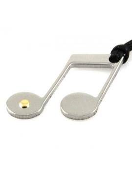 Collana con nota musicale in acciaio