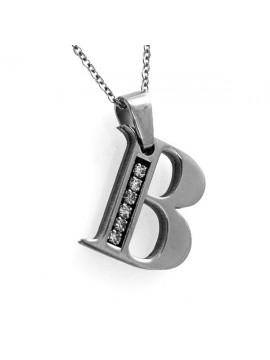 Collana con iniziale lettera b in acciaio