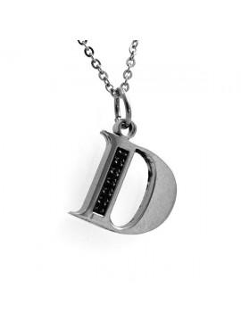 Collana con lettera iniziale d in acciaio