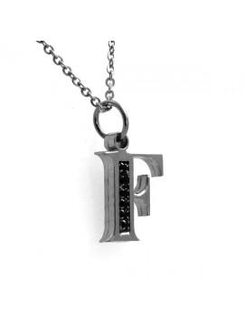 Collana con lettera iniziale f in acciaio