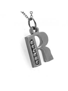 Collana con lettera iniziale r in acciaio