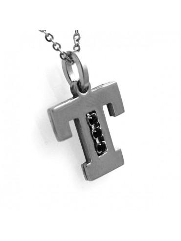 Collana con iniziale lettera t in acciaio