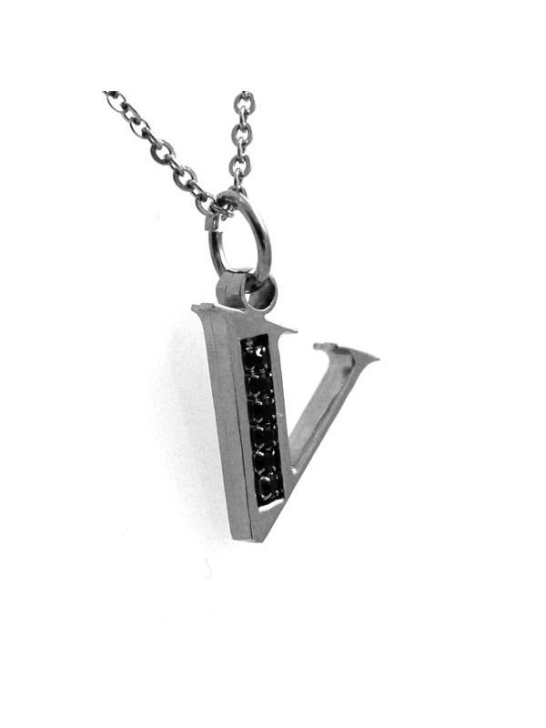 Collana con lettera iniziale v in acciaio