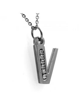 Collana con iniziale lettera v in acciaio