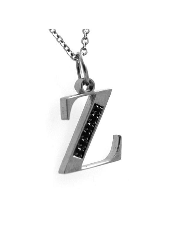 Collana con lettera iniziale z in acciaio